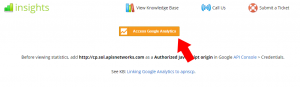 Access Google Analytics button to sign-on and begin sharing data with the control panel.