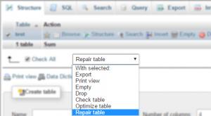 Repair Table option selected in phpMyAdmin