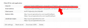 Sample client ID generated within Google's API console. Client ID masked for security.