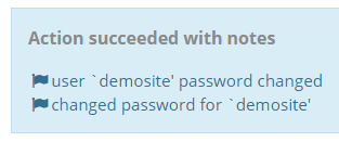 Success message following a password reset, including the username of the WP install.